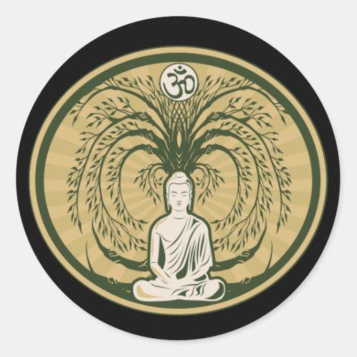 Buda debajo del árbol de Bodhi Pegatina Redonda