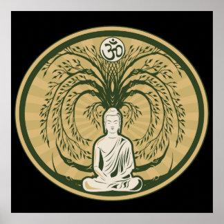 Buda debajo del árbol de Bodhi Póster