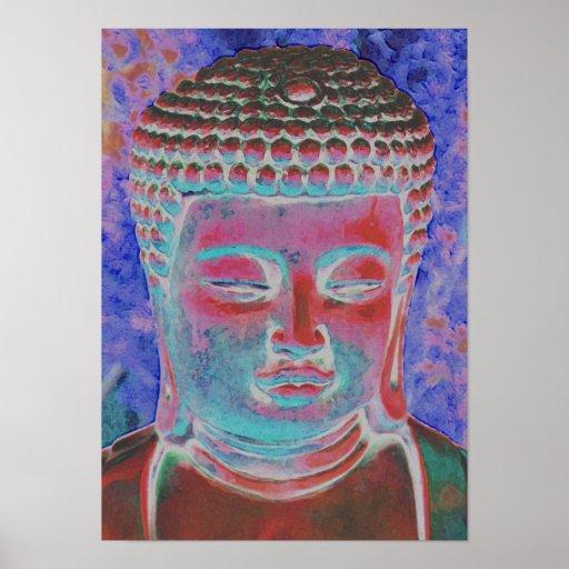 Buda del caleidoscopio pintado póster