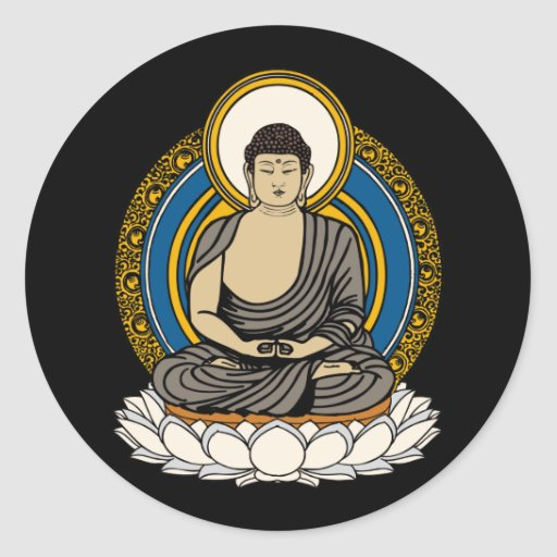 Buda Dhyana Mudra Pegatina Redonda