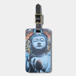 Buda en azul etiquetas para maletas
