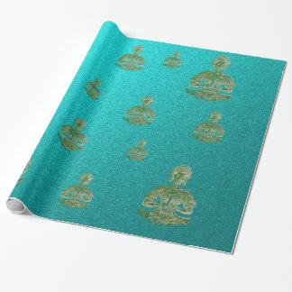 Buda en azul papel de regalo