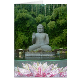 Buda en el bosque de bambú tarjeta de felicitación