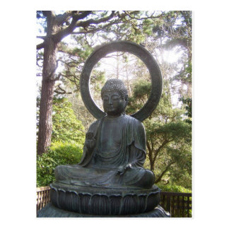 Buda en el jardín de té japonés tarjetas postales