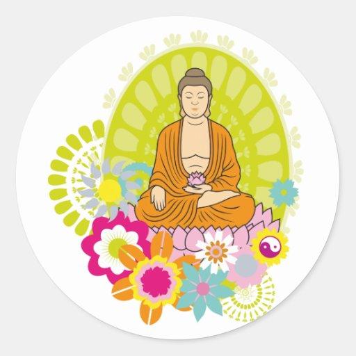 Buda en flores de la primavera pegatina redonda