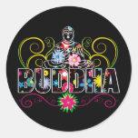 Buda en flores etiquetas redondas