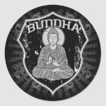 Buda en Grunge Etiqueta Redonda