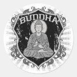 Buda en Grunge Pegatina Redonda
