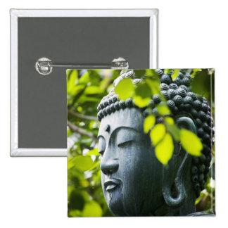 Buda en jardín del templo de Senso-ji Pin Cuadrada 5 Cm