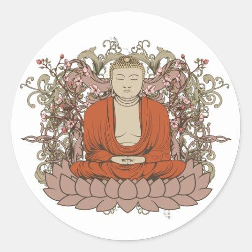 Buda en la flor de Lotus Pegatina Redonda