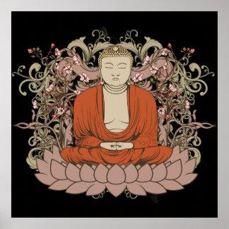 Buda en la flor de Lotus Póster