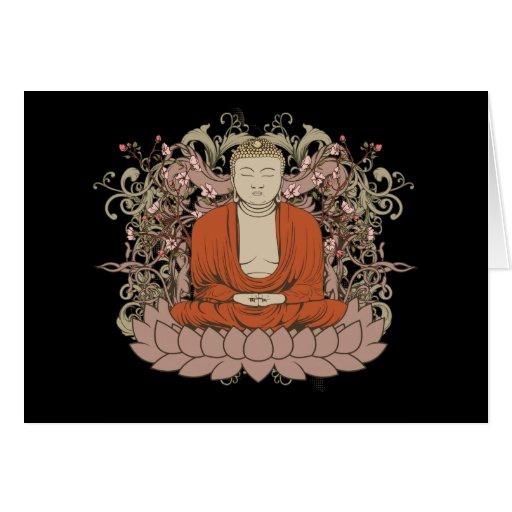 Buda en la flor de Lotus Tarjeta De Felicitación