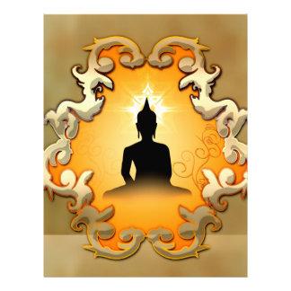 Buda en la puesta del sol membretes personalizados