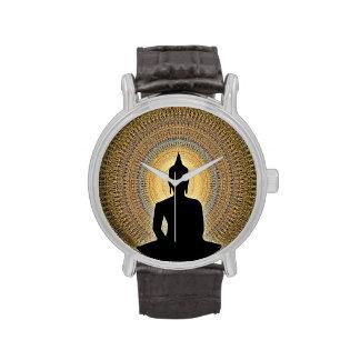 Buda en mandala - naranja y oro reloj