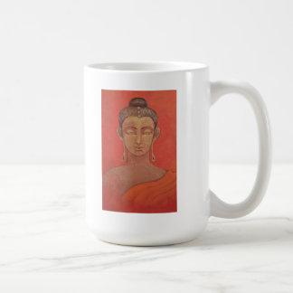 """Buda en naranja """"un jarro llena gota a gota"""" la ta taza básica blanca"""