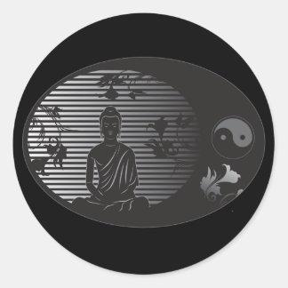 Buda en óvalo pegatina redonda