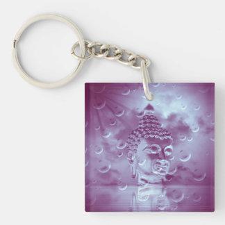 Buda en púrpura llavero cuadrado acrílico a una cara
