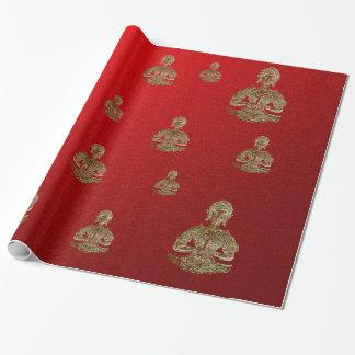 Buda en rojo papel de regalo
