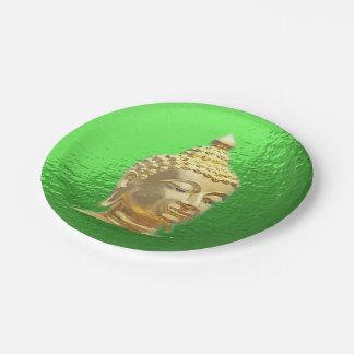 Buda en verde plato de papel de 7 pulgadas