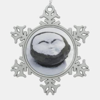 Buda feliz con el Facial de la nieve Adorno De Peltre En Forma De Copo De Nieve