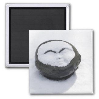 Buda feliz con el Facial de la nieve Iman De Frigorífico