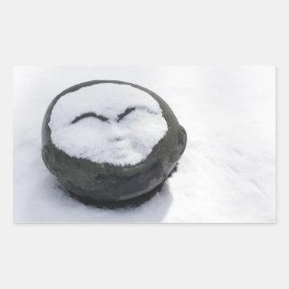 Buda feliz con el Facial de la nieve Pegatina Rectangular
