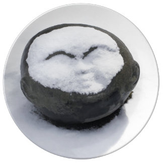 Buda feliz con el Facial de la nieve Plato De Cerámica