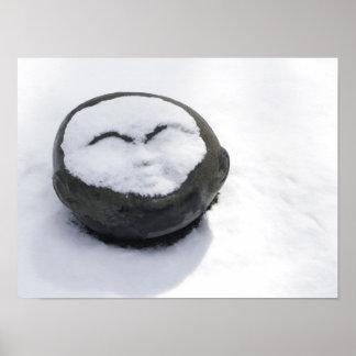 Buda feliz con el Facial de la nieve Póster
