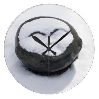 Buda feliz con el Facial de la nieve Reloj Redondo Grande