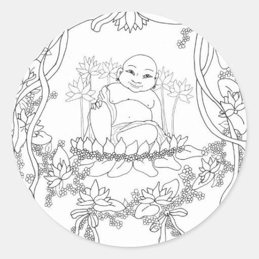 Buda feliz con Lotus Pegatina Redonda