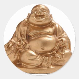 Buda feliz pegatina redonda