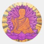 Buda iluminó etiquetas redondas