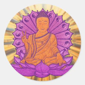 Buda iluminó pegatina redonda