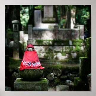Buda/impresión rojos de Jizo Posters