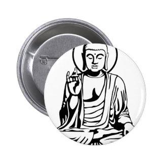 Buda joven No 1 blanco negro Pins