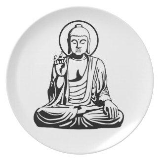 Buda joven No.1 (blanco negro) Plato De Cena