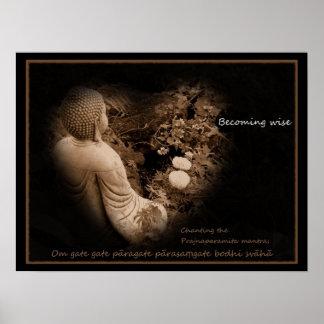 Buda - llegando a ser sabio - corazón Sutra Póster