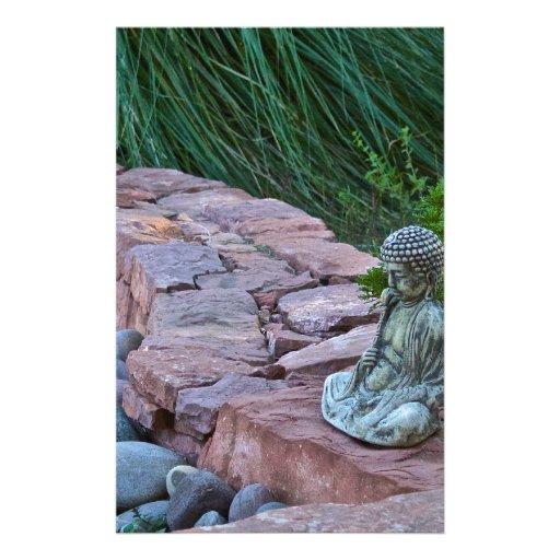 Buda meditating by the stream stationery