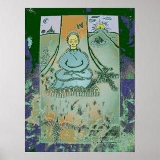 Buda Meditating debajo de la impresión del árbol d