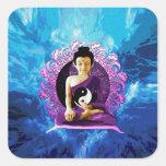 Buda Meditating feliz Pegatina Cuadrada