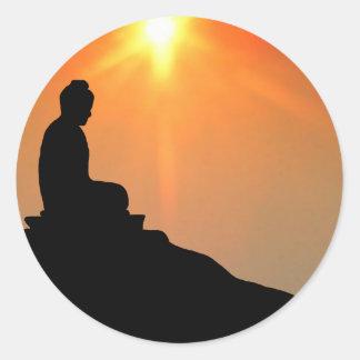 Buda Meditating Pegatina Redonda
