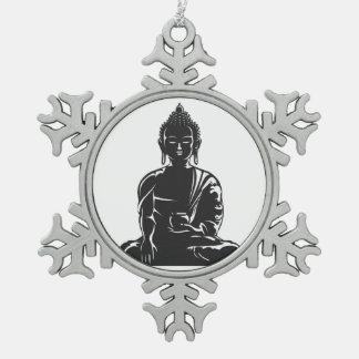 Buda, negro en el blanco, buddhism, paz, zen, adorno de peltre en forma de copo de nieve