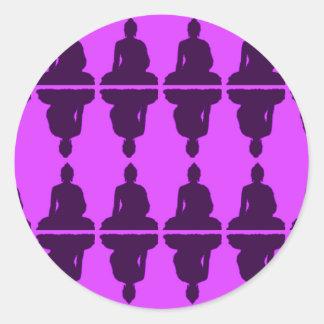 Buda púrpura etiqueta redonda