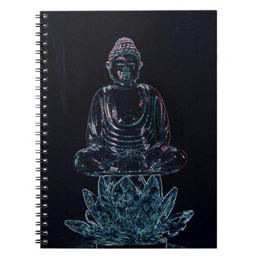 Buda que brilla intensamente libro de apuntes con espiral