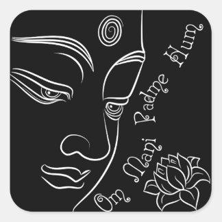 Buda que reflexiona blanco de la flor de loto pegatina cuadrada