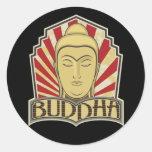 Buda retro etiqueta redonda