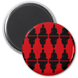 Buda rojo y negro imán redondo 5 cm