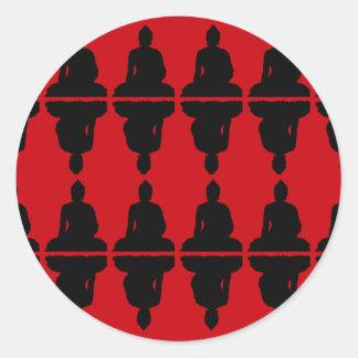 Buda rojo y negro pegatinas redondas