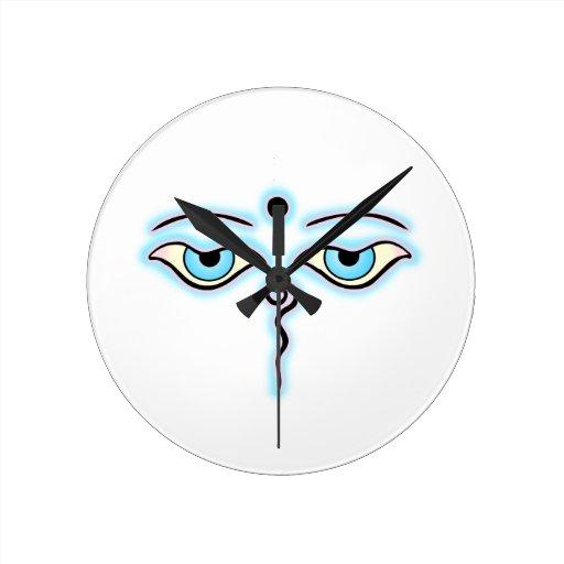 Buda rosado azul claro Eyes.png Reloj Redondo Mediano