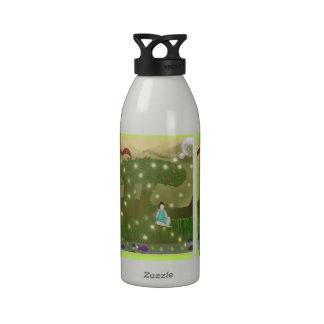 Buda secular del libro botellas de agua reutilizables